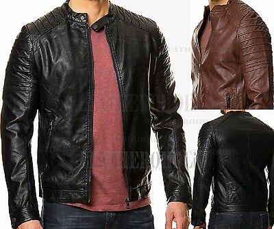 Mens Black Brown Genuine Leather Jacket Slim Fit Real Biker Retro New Xs-3Xl