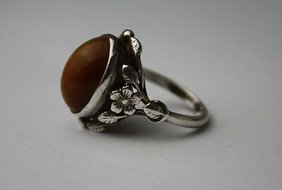 c1930 BERNARD INSTONE Tiger's eye and sterling silver ring  Arts & Crafts size Q