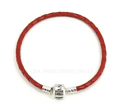 NEW Authentic PANDORA Red Leather Braided Cord Bracelet 590705 Size 6.9 7.5 8.1