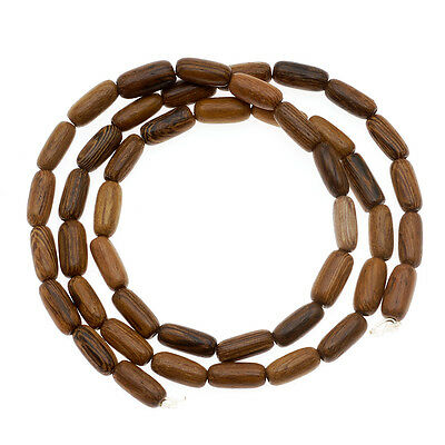 Oval Tube Wood Beads Brown 6-7mmx4mm/16 In Strnd Wooden