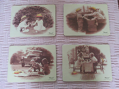 Placemats set of 4 with  vintage pictures of kids, vintage car, picnic, dining !