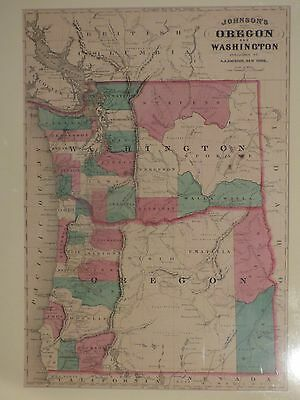 1865 Johnson's map of Oregon and Washington, matted