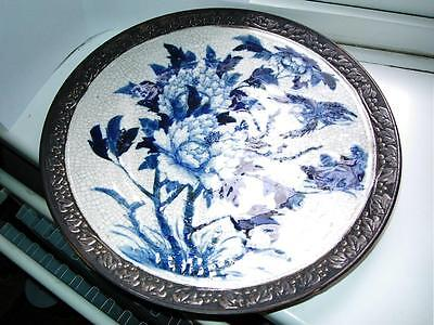 Large 37cm Antique Chinese blue & white porcelain charger bird flowers C1890