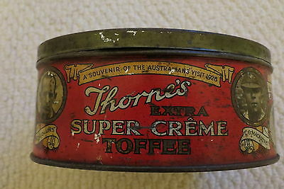Very Rare Thorne's Extra Super Creme Toffee Tin Showing 1926 Australians