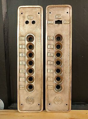 Vintage Solid Brass Elevator Button Panel Cover - Hollister-Whitney Co 5 Floor
