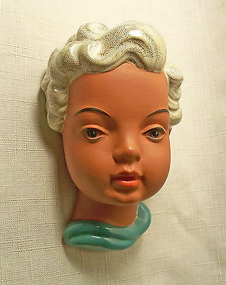 VTG GOLDSCHEIDER YOUNG GIRL TERRACOTTA WALL MASK WESTERN GERMANY # 538 MINT 50's