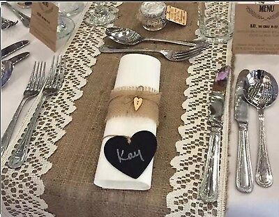 10 Burlap Hessian Table Napkin Rings With Twine And Wooden Hearts Wedding