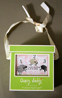 Oopsy Daisy Counting Sheep Canvas Night Light Pink BRAND NEW in box