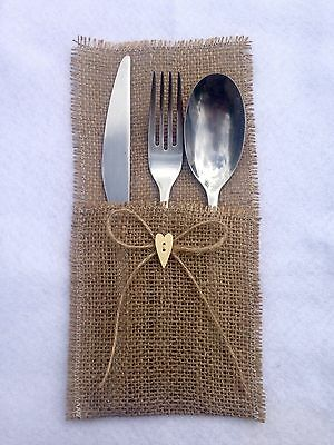 10 Hessian Burlap Wedding Cutlery Holder With Twine Bow And Wooden Heart
