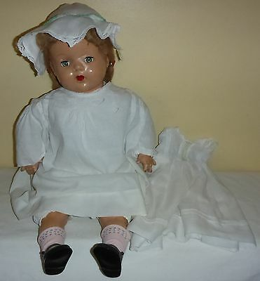 """Antique Crying Doll - Composition Head Arms & Leg-Stuffed Body - 22"""" Tall"""