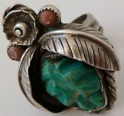 Old Pawn Harvey NAVAJO Turquoise Sterling 925 Silver LARGE ring