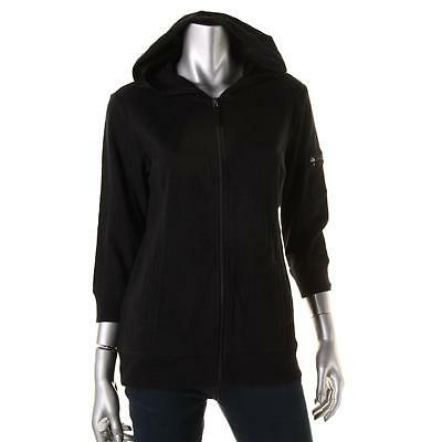 Style & Co. Sport 1832 Womens Black Solid Zip Front Hoodie Jacket M BHFO
