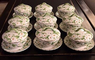 RARE Set Of 9 MOTTAHEDEH Italy DAISY Soup BOWLS Mini Tureens With LIDS & SAUCERS