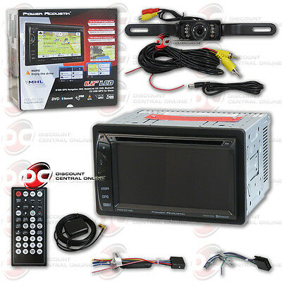 """Power Acoustik Pdn-621Hb 6.2"""" Lcd Bluetooth Gps Stereo Free Licenseplate Camera"""
