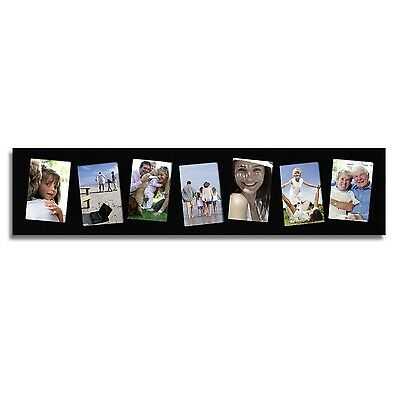 adeco 7 opening 4x6 black wood wall hanging collage photo picture frames glass
