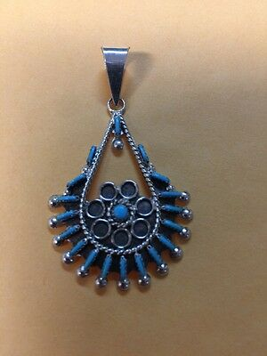 Native American Zuni Turquoise Needle Point Pendant Philander Gia  Stunning #2