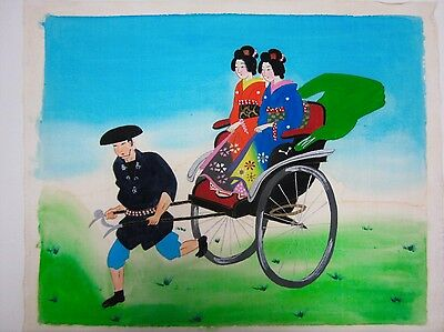 Hand painted original vintage Japanese Silk painting, Women in Rickshaw