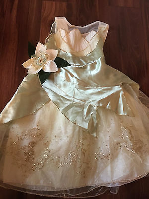 girl THE DISNEY STORE DELUXE TIANA DRESS fancy princess COSTUME glitter SIZE 2/3