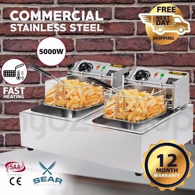 SEAR Commercial Electric Deep Fryer - Double Basket Countertop Chip Industrial