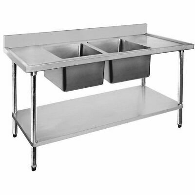 Sink with Double Drainer Double Bowl, Stainless Steel, 2400x600x900mm Commercial