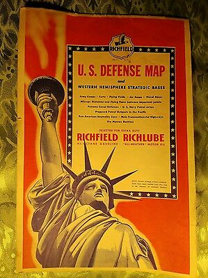 1941 Richfield Oil Gasoline US Defense map Western hemisphere strategic bases