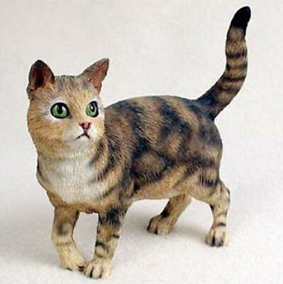 SHORTHAIRED BROWN TABBY CAT Standing Figurine Statue Hand Painted Resin Gift