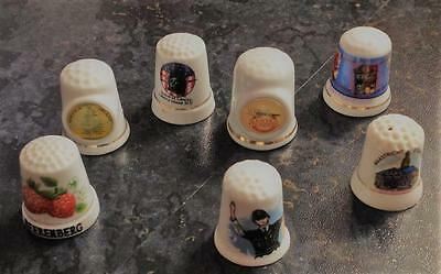 7 VINTAGE COLLECTABLE INTERNATIONAL THIMBLES in GREAT Condition