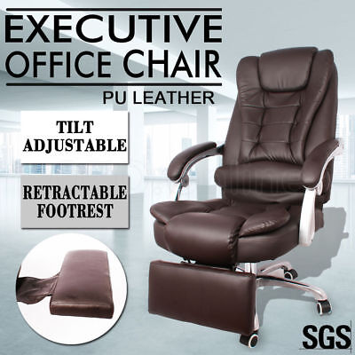 Executive Office Computer Chair Premium PU Leather Padded Lumbar Support Brown