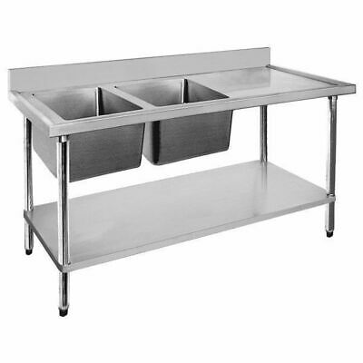 Sink with Right Drainer Double Bowl Stainless Steel 1500x700x900mm Commercial