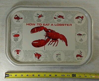 Vintage Tin HOW TO EAT LOBSTER SERVING TRAY Lithograph Metal Instructional