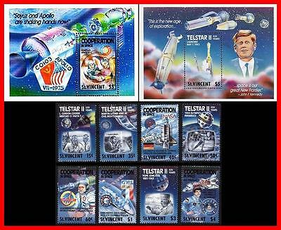 St.vincent 1989 Space / Apollo-Soyuz / Kennedy + 2 S/s Sc#1163-72 Mnh M.l. King