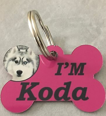 Pet Tag Personalised Name Printed  Dog Cat Photo Double Sided Coloured Bone