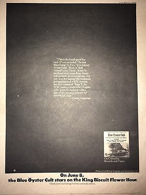 1975 Blue Oyster Cult BISCUIT Flower Hour ON YOUR FEET OR KNEES AD PINUP POSTER