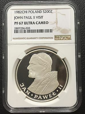 Poland 1982 CHI 200 Zlotych Silver Coin NGC PF 67 Pope John Paul II Ultra Cameo