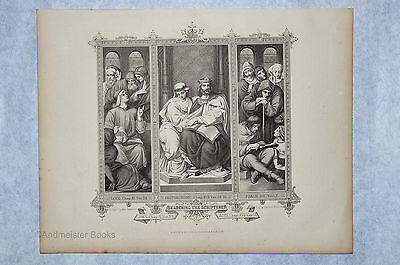Searching The Scriptures - Antique Print circa 1850