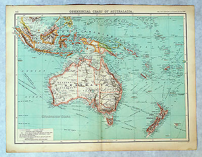 Commercial Chart of Australia - Antique Map circa 1900