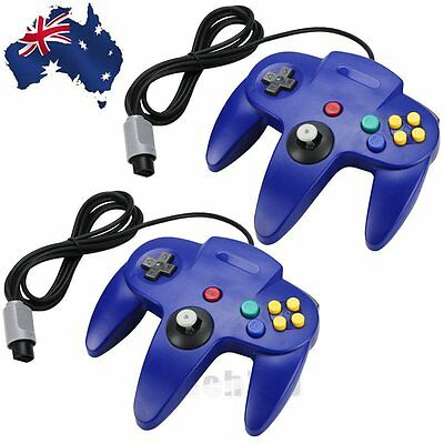 2X Classic Game Controller Gamepad Joystick for Nintendo 64 N64 System Blue AL#