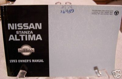 **LOOK** 1993 Nissan Altima Stanza Owners Manual 93