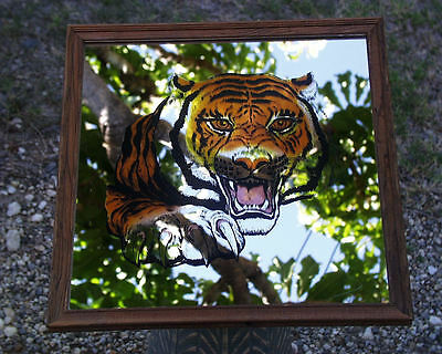 Vintage Early 1980's Carnival Glass Wood Framed Mirror Picture Of Snarling Tiger