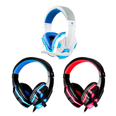 3.5mm Gaming Headset Mic LED Over-ear Running Headphones Stereo Surround New