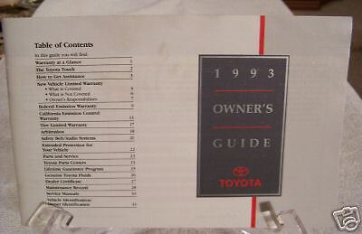 **LOOK** 1993 Toyota Owners Guide 93