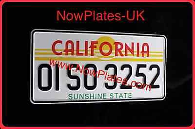 American California Number Plate x 1 With Colour Choice (Pressed Plate) 12 X 6