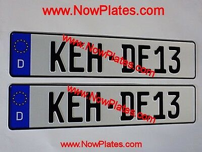 German Pressed Number Plates with D Flags x2 Both White or 1xYellow & 1xWhite