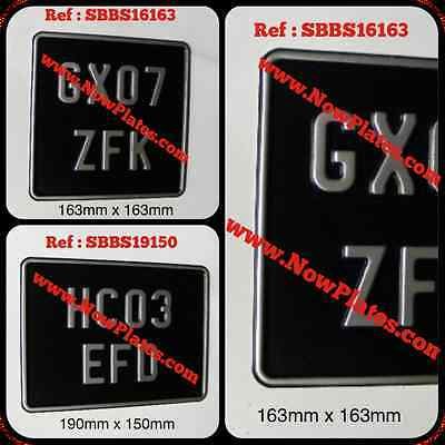 Motorcycle Pressed Number Plate Black & Silver with Border (Small No's) 2 SIZES