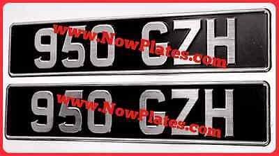 Vintage Pressed Number Plates x 2, Oblong Black with Brushed Chrome Characters