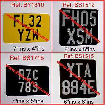 Motorcycle Number Plate Black & Silver or Yellow & Black (Pressed Plate) SIZES 4