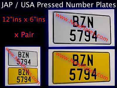 """JAP / American Number Plates x2 (Pressed Plates) 12""""ins X 6""""ins Plain or with GB"""