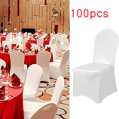 1-100pcs White Elastic Stretch Slipcovers Wedding Party Chair Seat Cover Décor