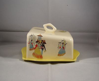 beswick rare butter dish with cover and stand---happy morn---1950's--g/c