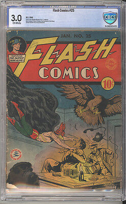 Flash Comics # 25  The Flash, Hawkman, Johnny Thunder !   CBCS 3.0 scarce book !